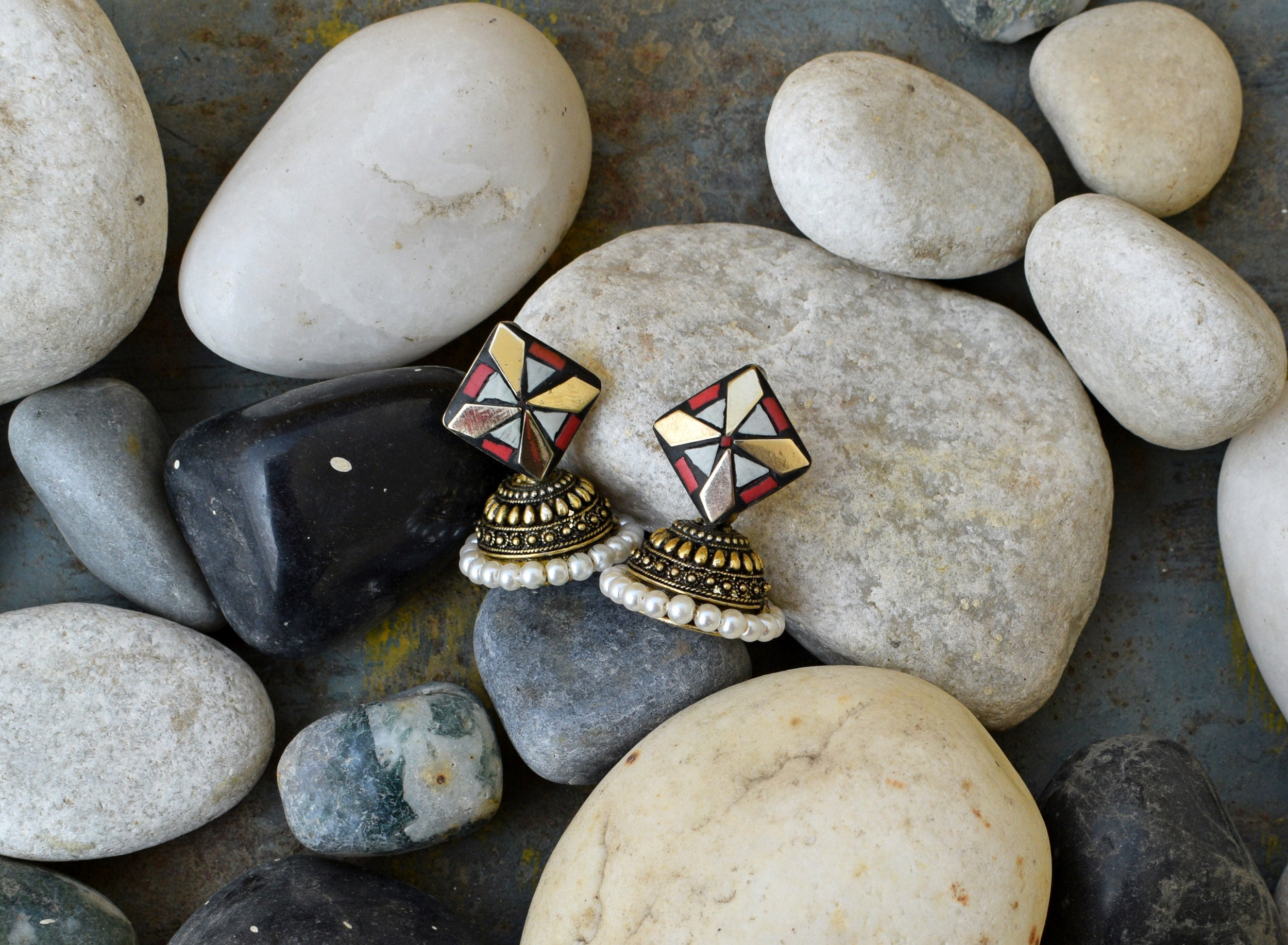 Red White Stone Gold Jhumka