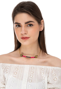 Geometric Embroidered Gold Choker