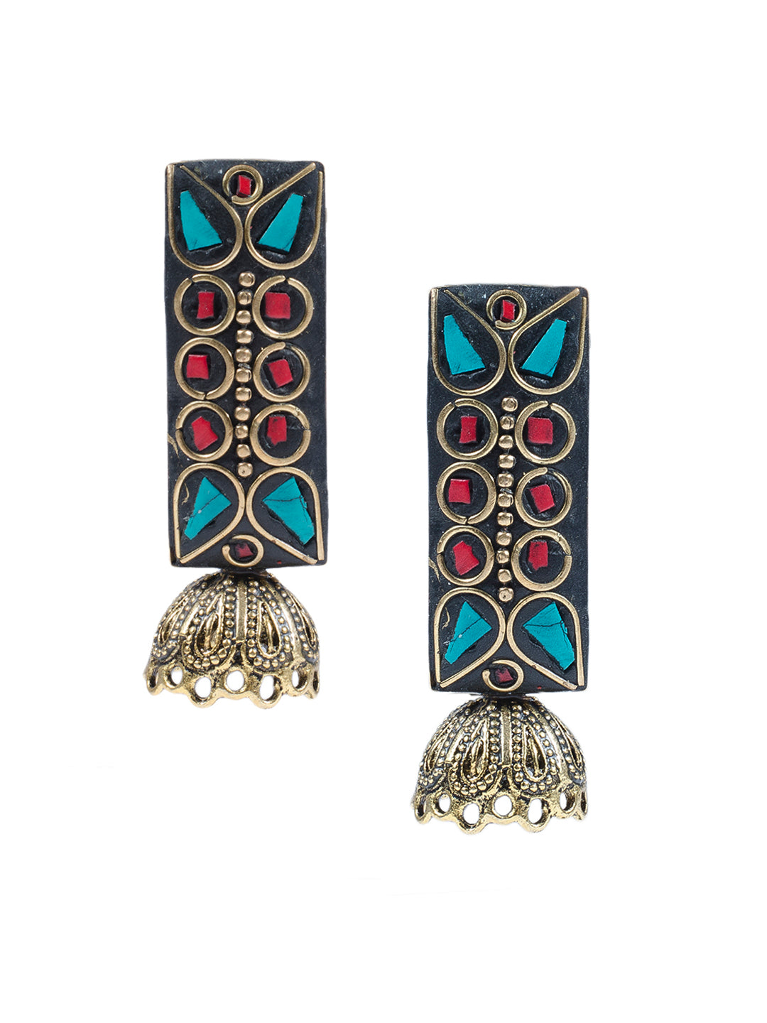 Red Green Rectangular Lakh Jhumka
