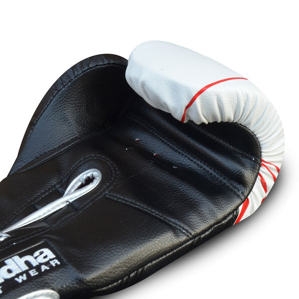 Guants de Boxa Muay Thai Kick Boxing Buddha Future Blanc-Negre - Buddha Fight Wear