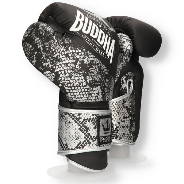 Muay Thai Kick Boxing Boxing Gloves Buddha Combo Silver - Buddha Fight Wear