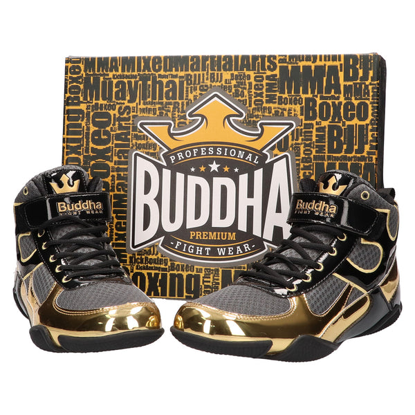 Boxeo oinetakoak Buddha One Gray Grey-Gold - Buddha Fight Wear