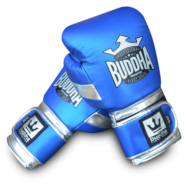 Boxing Gloves Muay Thai Kick Boxing Deluxe Blue - Buddha Fight Wear