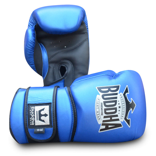 Muay Thai Kick Boxen Boxhandschuhe Buddha Pro Gel Blue - Buddha Fight Wear
