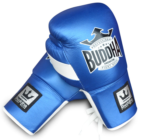 Guants de Boxa Muay Thai Kick Boxing Buddha Competició Professional Pell Blaus - Buddha Fight Wear