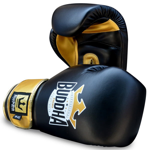 Boxing Gloves Muay Thai Kick Boxing Top Fight Black Gold - Buddha Fight Wear