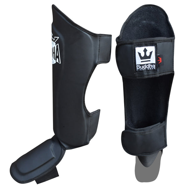 Shin Guards Muay Thai MMA Kick Boxing Matte Black King Supreme - Buddha Fight Wear