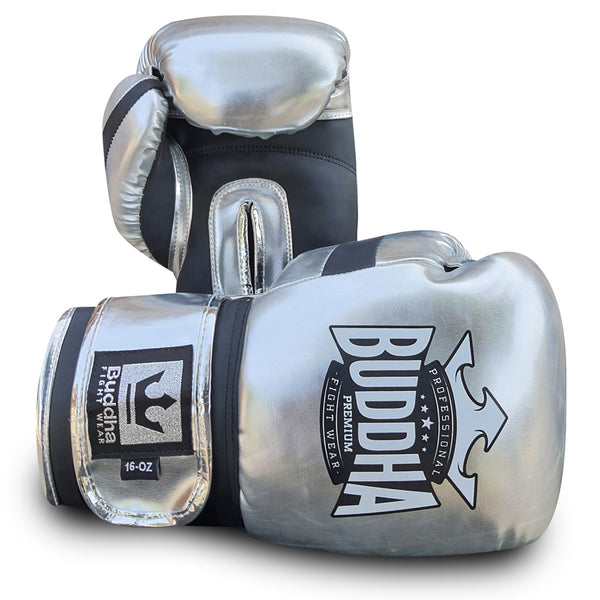 Boxing Gloves Muay Thai Kick Boxing Deluxe Silver - Buddha Fight Wear