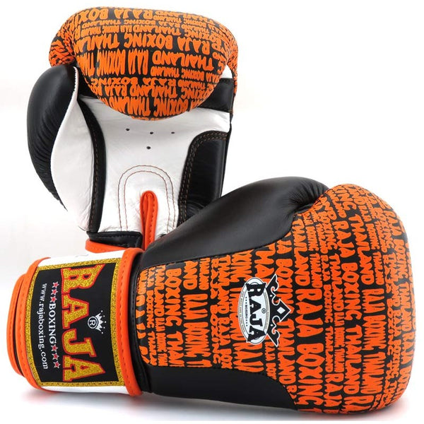 Raja Boxing Premium Gloves Black / Orange Leather - Buddha Fight Wear