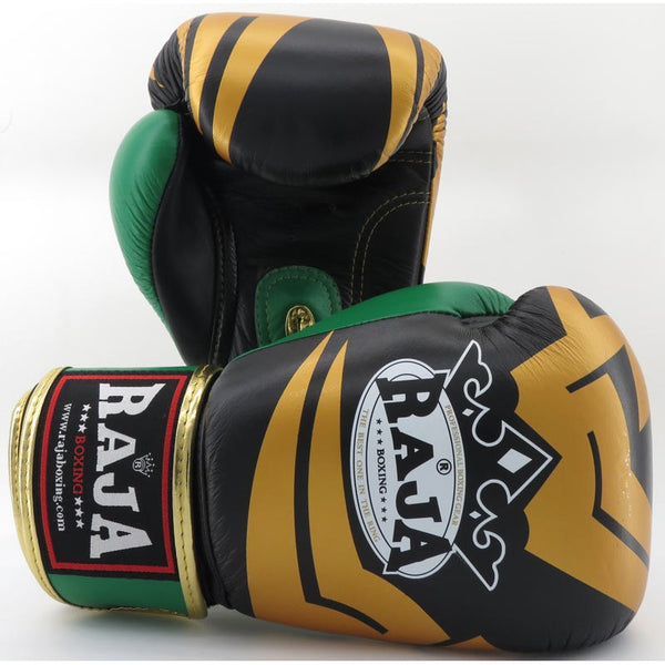 Raja Boxing Fancy Gloves Black / Green Leather - Buddha Fight Wear