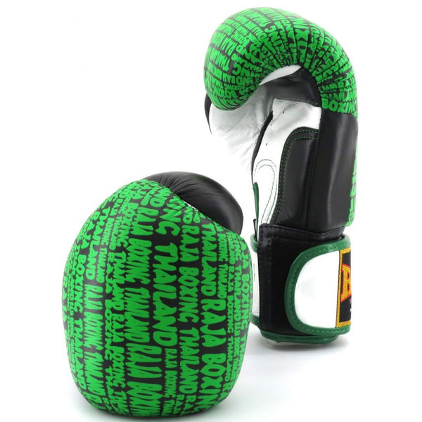 Raja Boxing Premium Gloves Black / Green Leather - Buddha Fight Wear