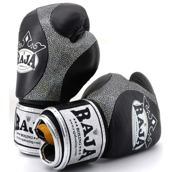 Raja Boxing Premium Black Leather Gloves - Buddha Fight Wear