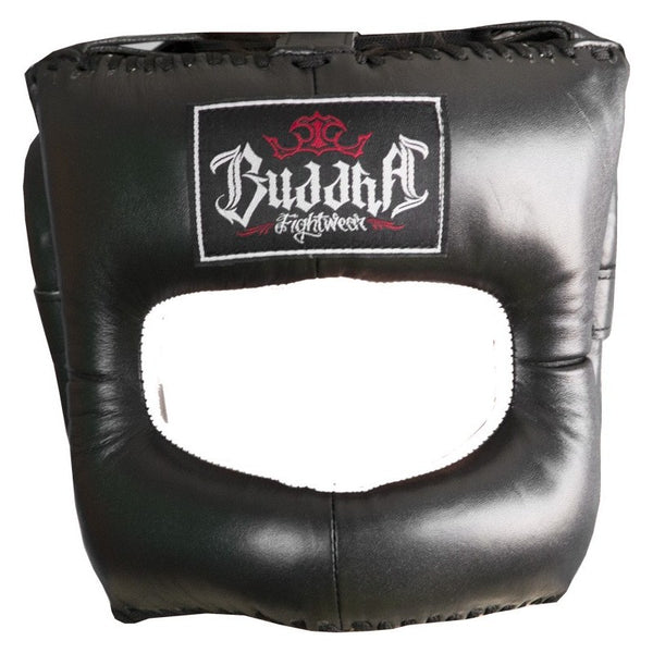 Casco chiuso in pelle naso boxe nero Muay Thai MMA Kick Boxing - Buddha Fight Wear