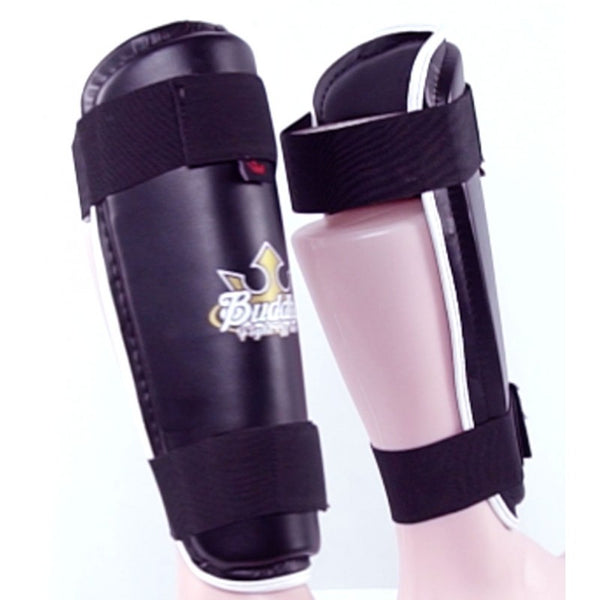 Tibia Black Shin Guards für den Wettbewerb zugelassen Muay Thai Kick Boxing Full Contact Buddha - Buddha Fight Wear