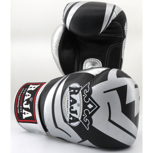 Raja Boxing Fancy Gloves Schwarz / Silber Leder - Buddha Fight Wear