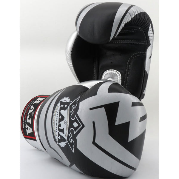 Guants Raja Boxing Fancy Negre / Plata Pell - Buddha Fight Wear