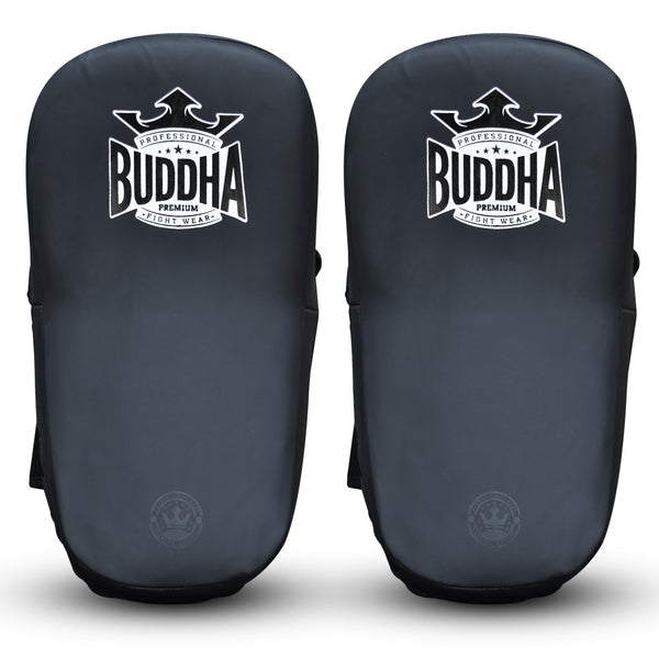 Paos S Leather Curved Buddha Pro Velcro Matte Black (Pair) - Buddha Fight Wear