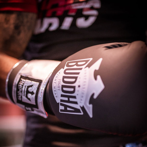Guants de Boxa Muay Thai Kick Boxing Top Fight Negre Mate - Buddha Fight Wear