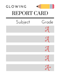 Glowing Report Card Printable