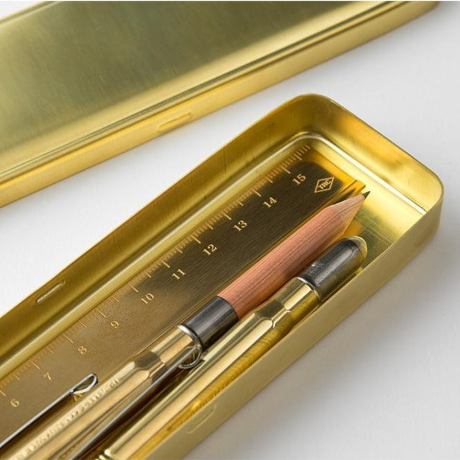 brass pen case by Traveler's Company at eyes open project