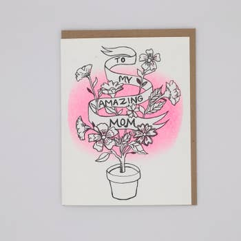 To My Amazing Mom Flower Pot Card