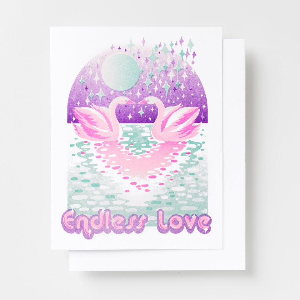 Endless Love Swans Risograph Card Eyes Open Project