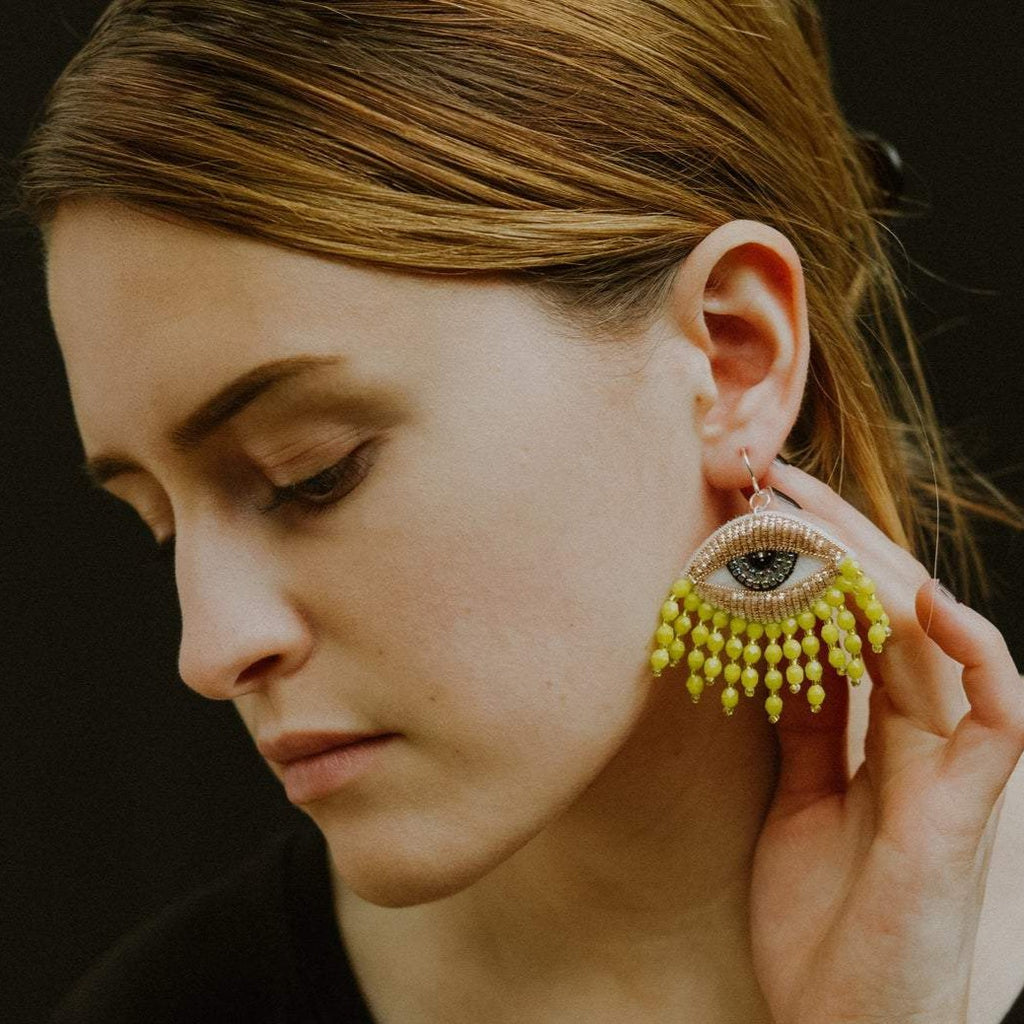 Fringey Eye Earrings in Chartreuse