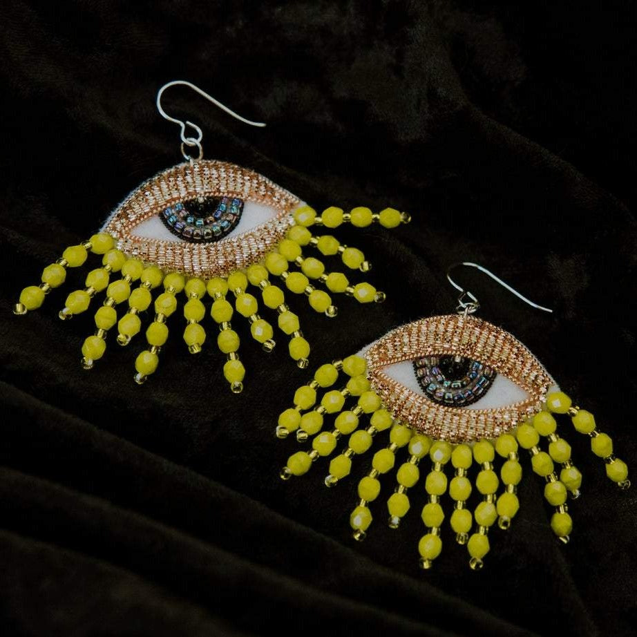 Carly Owens Fringey Eye earrings in Chartruse