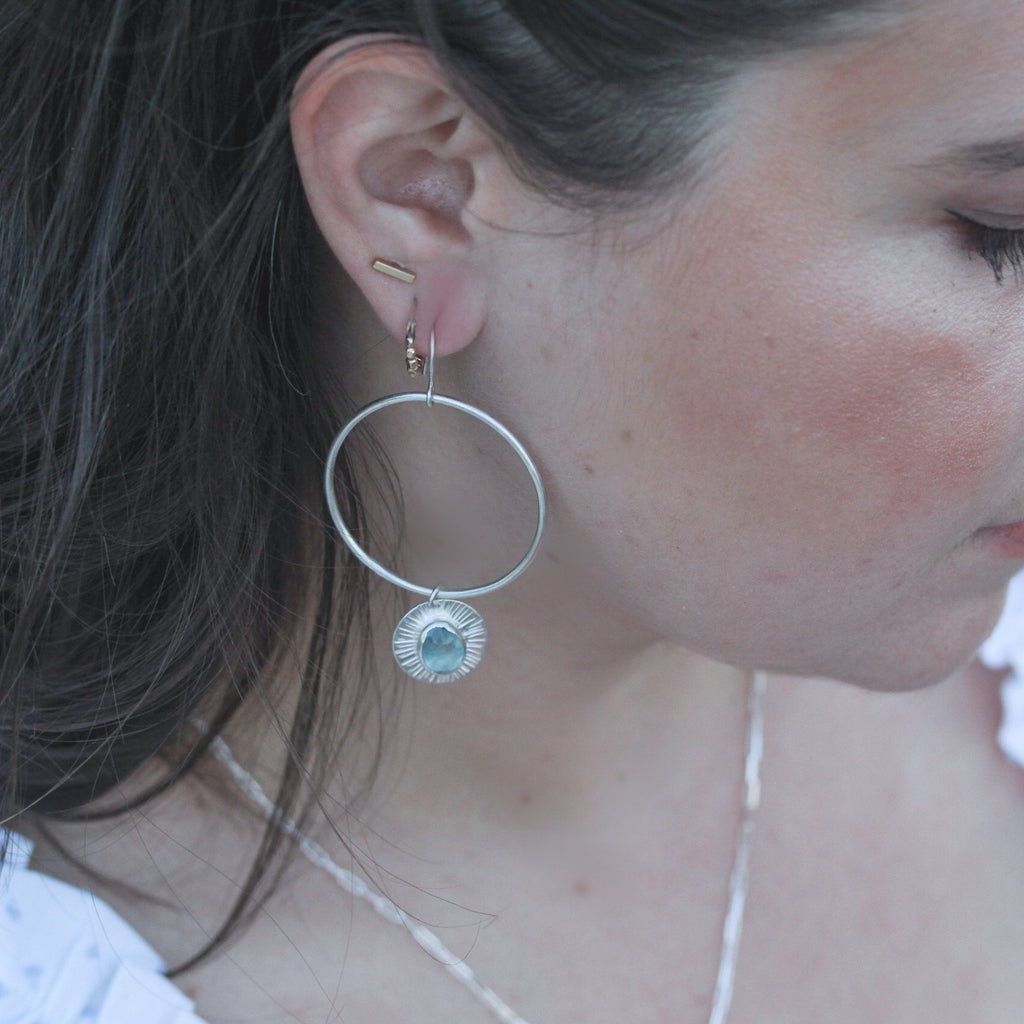 Horizon Hoops - Aquamarine & Sterling Silver