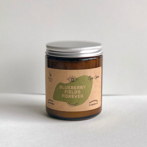 wooly wax blueberry fields forever candle at eyes open project