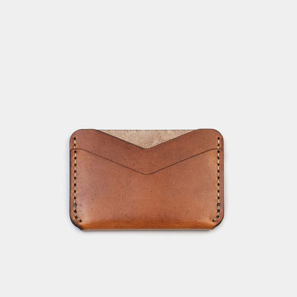 slim card wallet horizontal leather eyes open