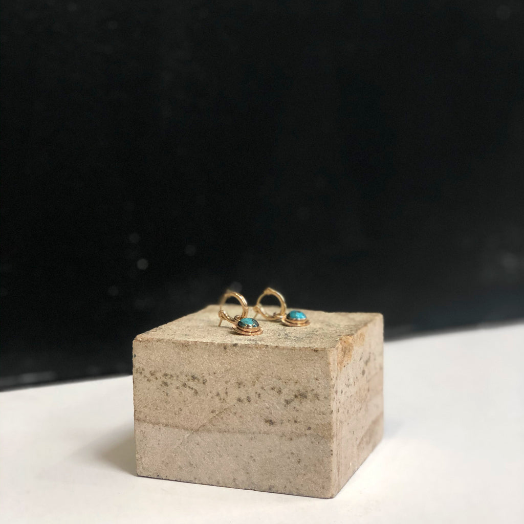 Mini Stone Hoops 14k Goldfill/Turquoise