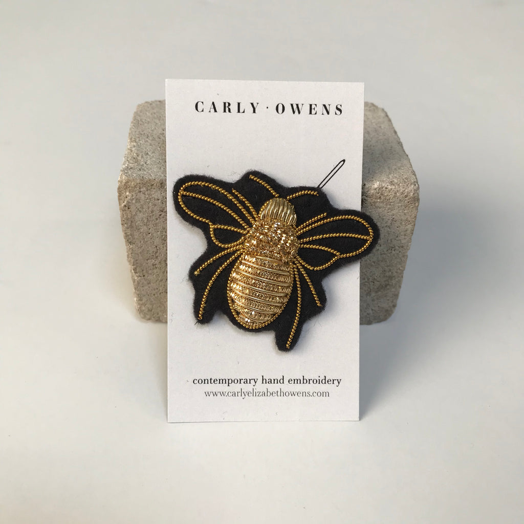carly owens humble bee brooch in gold