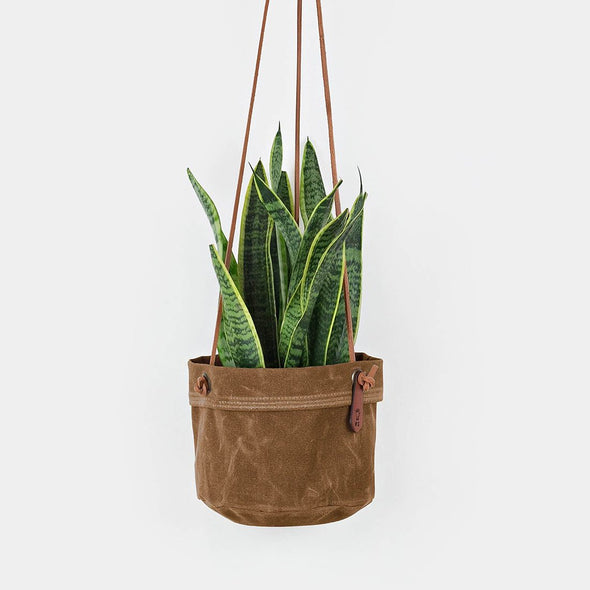 Medium Hanging Planter - Waxed Canvas + Leather