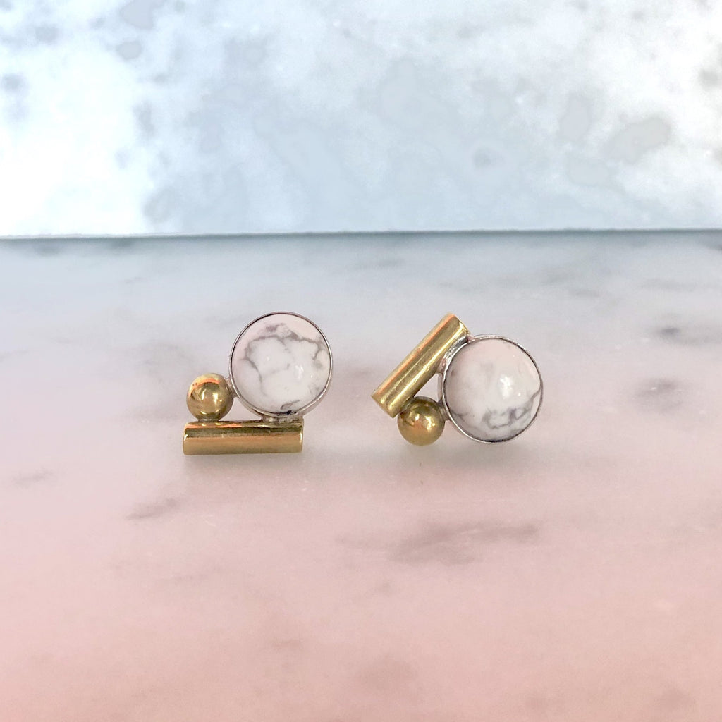 high society Bauhaus studs in gold and white howlite