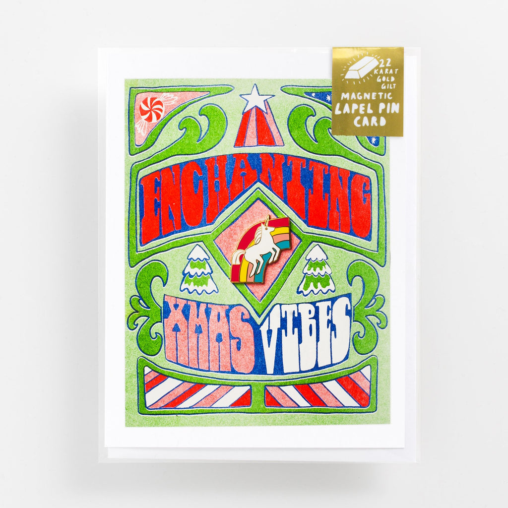 Enchanted Xmas Vibes Risograph + Pin