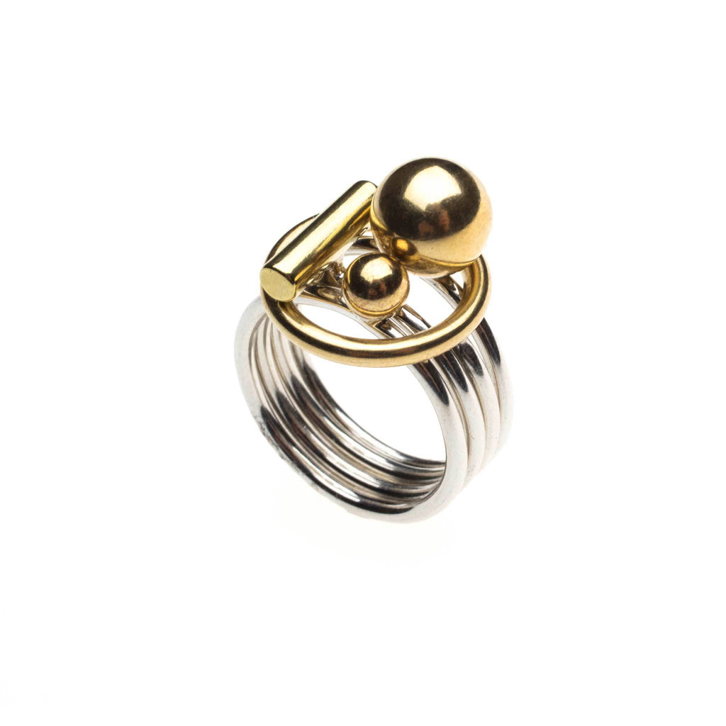 high society puzzle ring with brass top