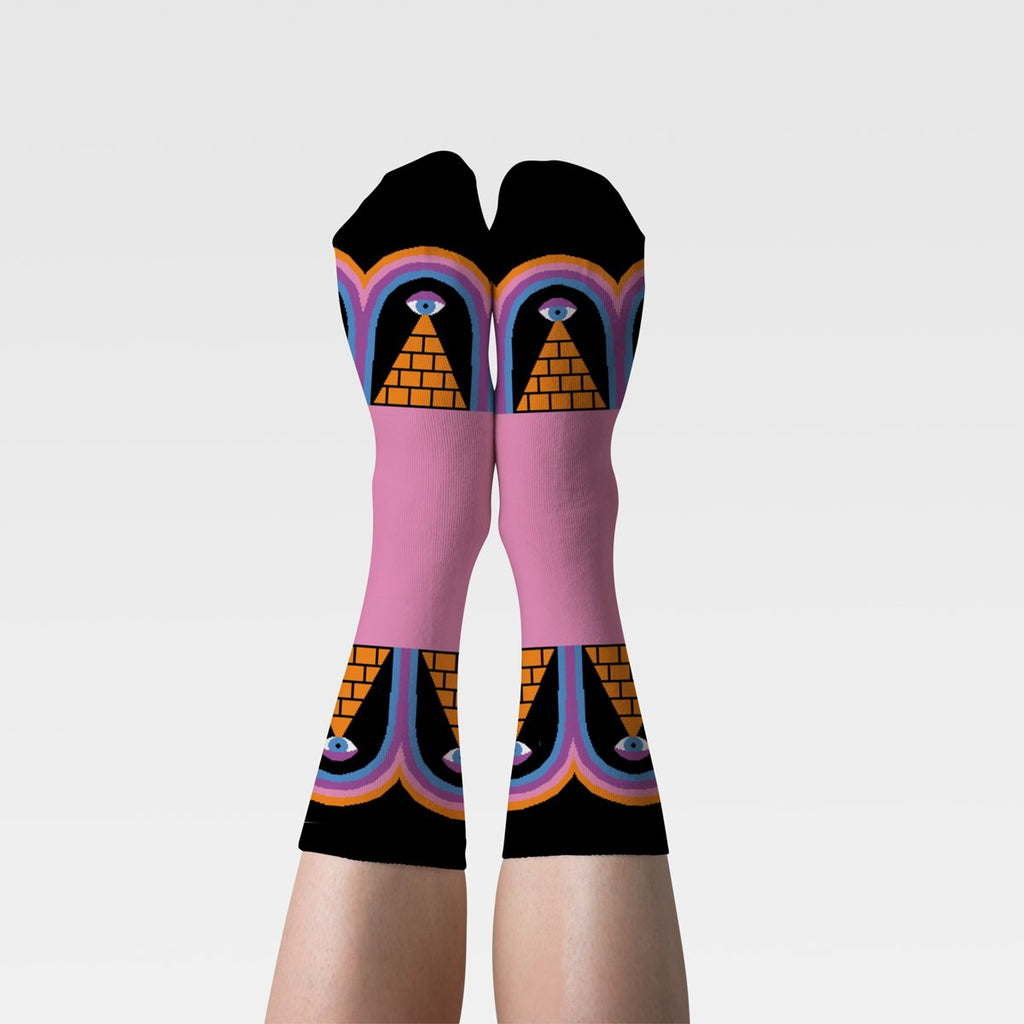 Pyramids Women's Crew Socks on Feet Eyes Open Project