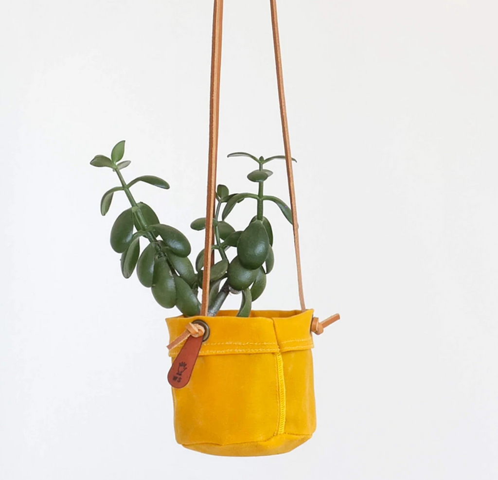 Small Hanging Planter - Waxed Canvas + Leather
