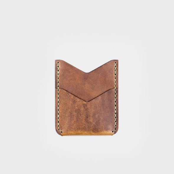 hand stitched leather vertical card wallet eyes open