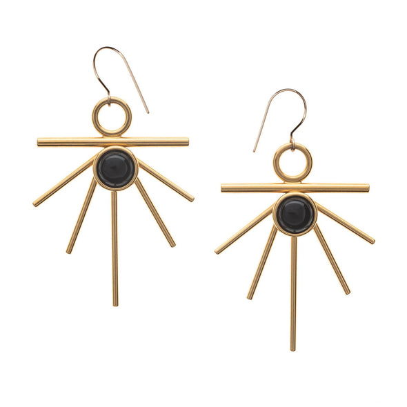 high society gold sunburst earrings with onyx
