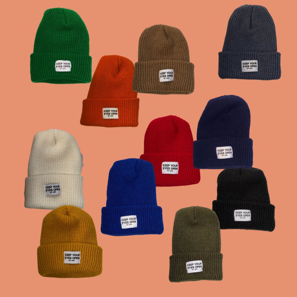 differently colored beanies KYEO at eyes open project