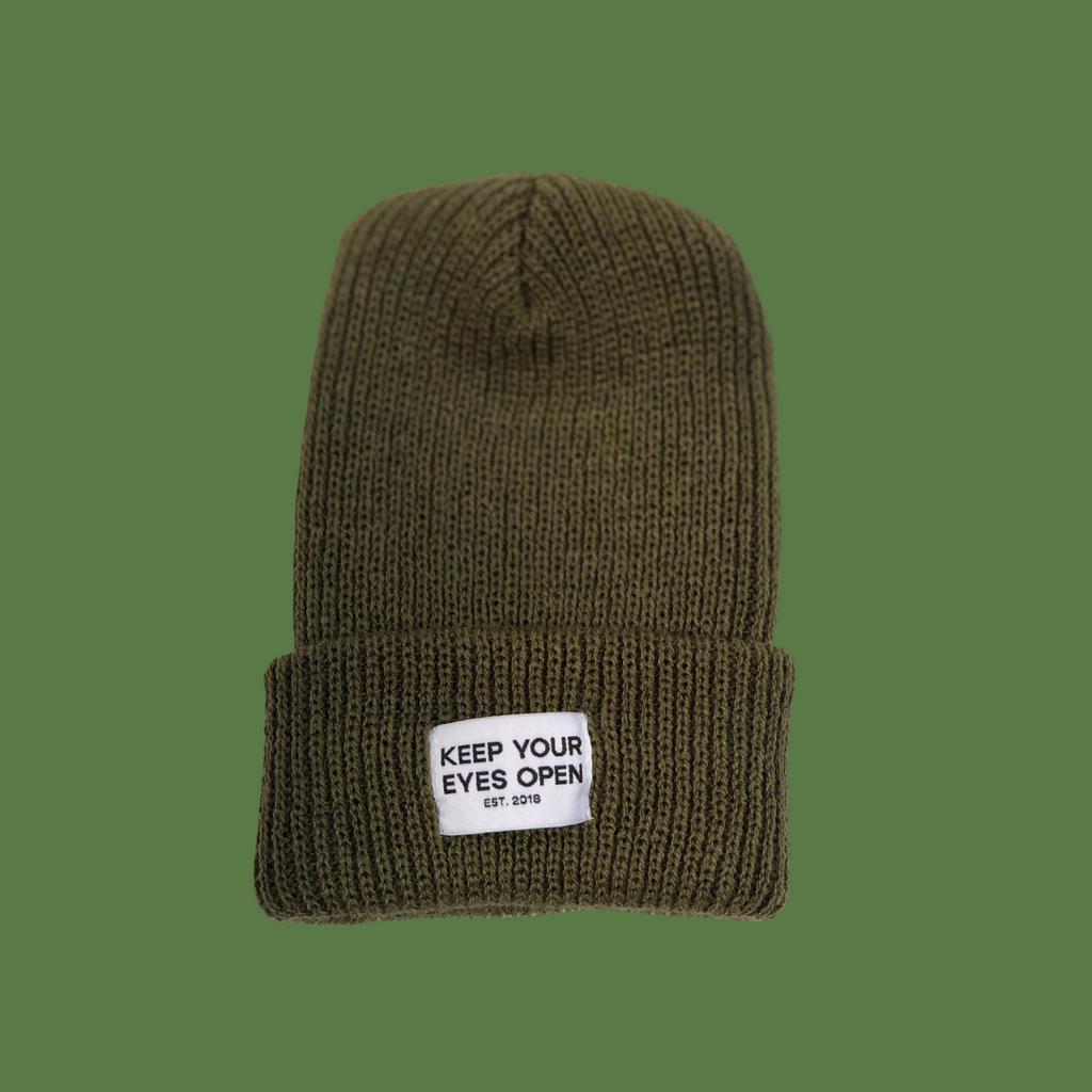 Olive green watch cap KYEO at eyes open project