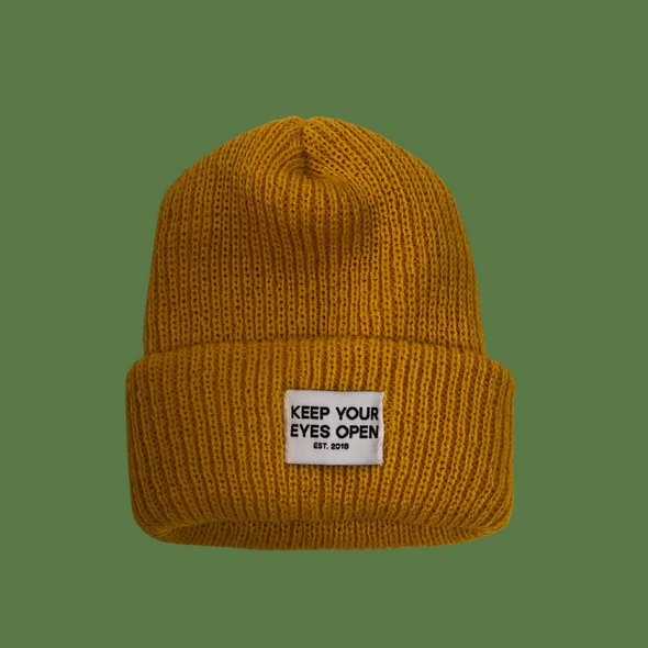 mustard watch cap KYEO at eyes open project