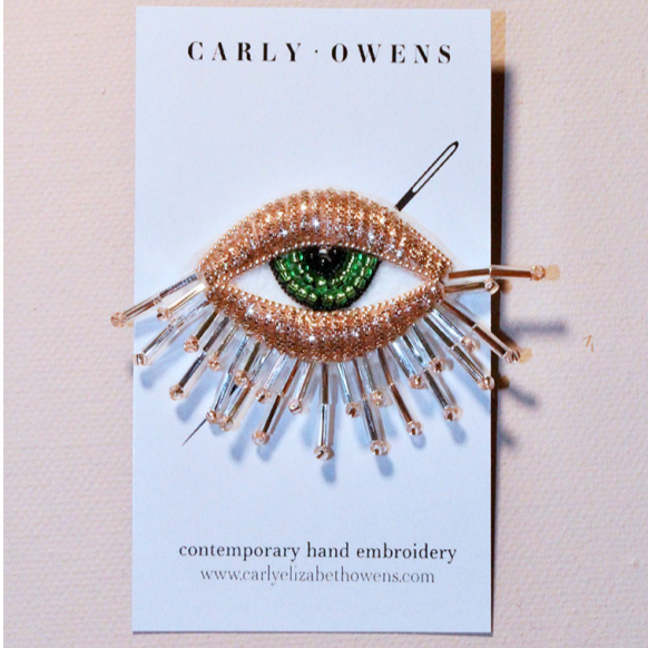 Mini Embroidered Eye Brooch in Rose Gold - Green Iris