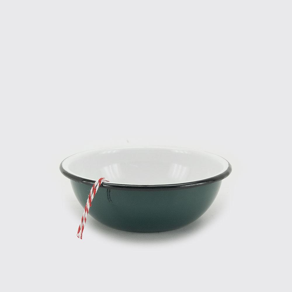steel and enamel green bowl handmade in Mexico
