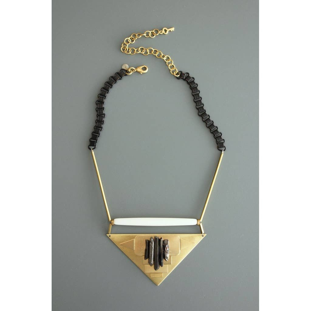 Brass and Bone Necklace with Quartz Details