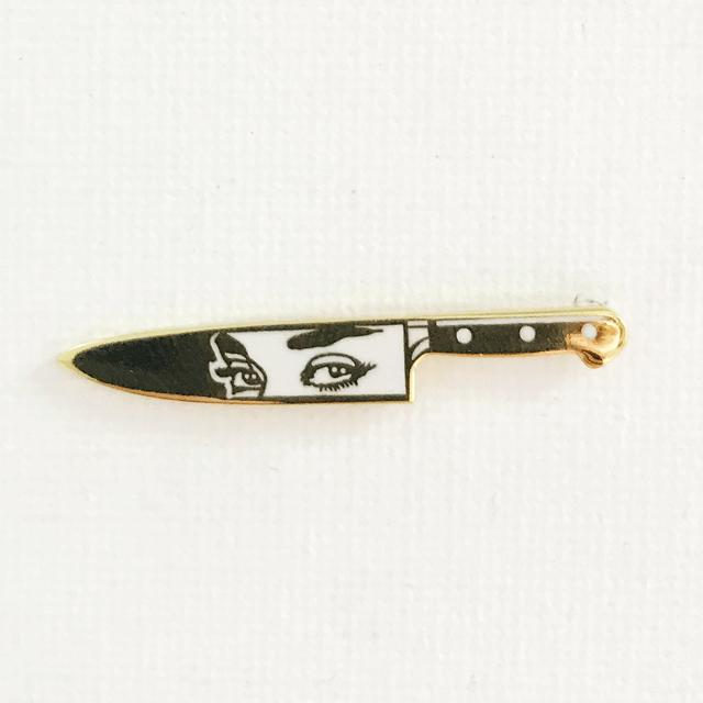 Gold Knife Eyes Pin