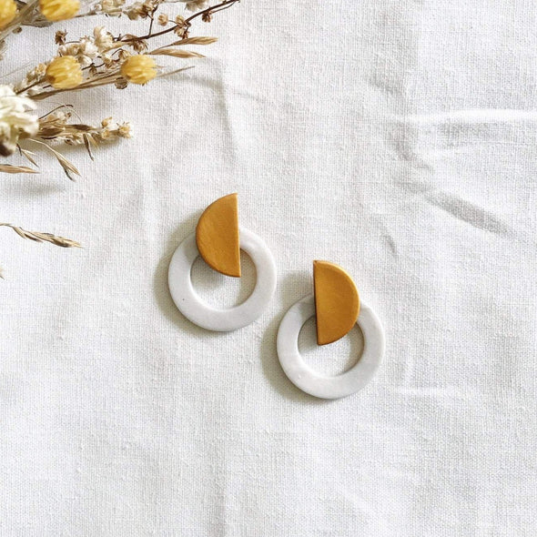 Corinne Earrings in Silver & Burnt Gold