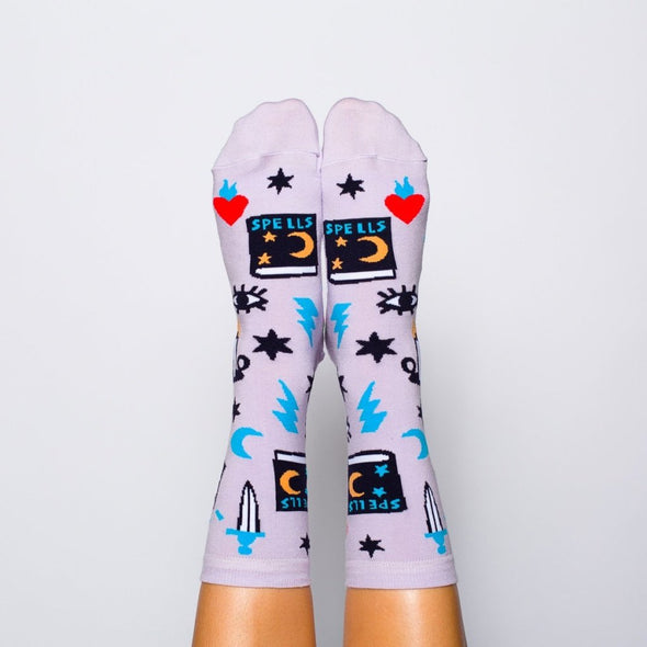 yellow owl witchy mystic spells crew socks